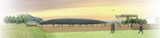全体イメージ。遺構展示施設の楕円の屋根は古代の舟を思わせる。右手に見えるリング状の建築が展望施設。バリアフリーに配慮し、12分の1勾配のスロープで展望台に上ることができる(資料:平田晃久建築設計事務所)