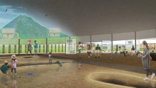 多目的スペース。普段は開放されており、一般の市民が散歩の休憩時に利用できる。遺構展示施設と展望施設の結び目に位置し、専門家やボランティア、来訪者など様々な交流の場となる(資料:平田晃久建築設計事務所)