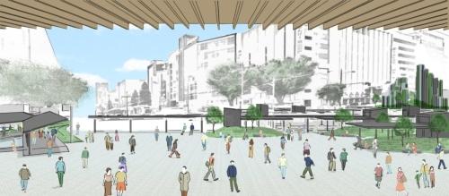 JR岡山駅から見た広場のイメージ。緑あふれる憩いのスペースが点在している(資料:弥田俊男設計建築事務所)