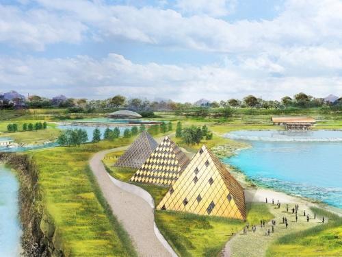 """ケンタッキー・アウル・パークの俯瞰(ふかん)イメージ。木製パネルとガラスで覆われる3棟の""""ピラミッド""""が蒸留施設。水際に立ち並ぶ木造建築群が来訪者を迎え入れる(資料:Shigeru Ban Architects/ Stoli Group)"""