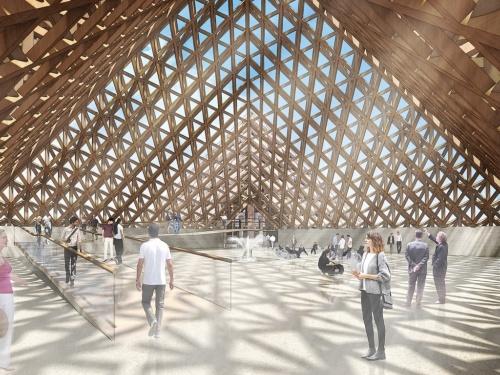 蒸留施設のエントランス(資料:Shigeru Ban Architects /Stoli Group)