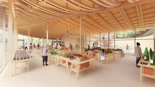 「まきのさんの市場」。下がり棟のある屋根形状に沿ってスパンに合わせた張弦梁(はり)を配置することで、空間にグラデーションを付けている(資料:STUDIO YY)