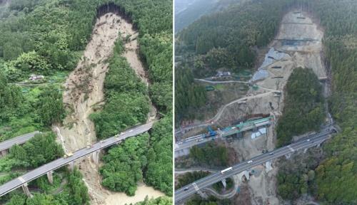 左は被災直後の2018年7月7日に撮影した現場付近。3径間連続PRC(プレストレスト鉄筋コンクリート)桁が流された。右は19年4月6日時点。流失した立川橋の架設が完了して、斜面の崩落防止対策も並行して進む(写真:西日本高速道路会社)