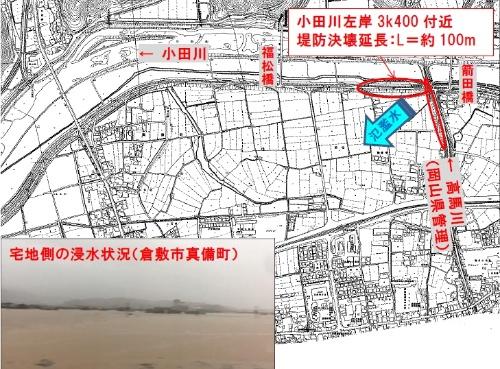 小田川と高馬川の破堤箇所。岡山県倉敷市真備町では大規模な浸水被害が発生した(資料・写真:国土交通省)