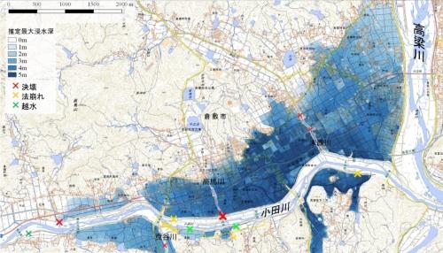 7月16日時点で把握できている堤防の損傷状況。浸水範囲は7月7日の映像などの情報から推定し、深さごとに色を分けて表現している(資料:国土地理院、国土交通省)