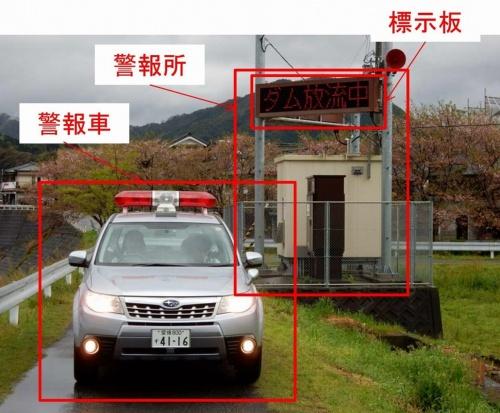 ダムの放流警報を放送する警報車と警報表示板(写真:国土交通省)