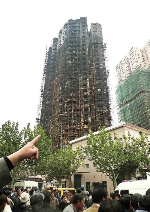 〔写真3〕犠牲者が多かった上海の高層住宅