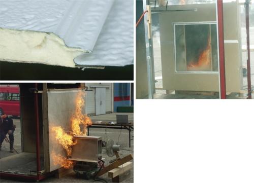 〔写真2〕消防局が金属パネルで火災実験