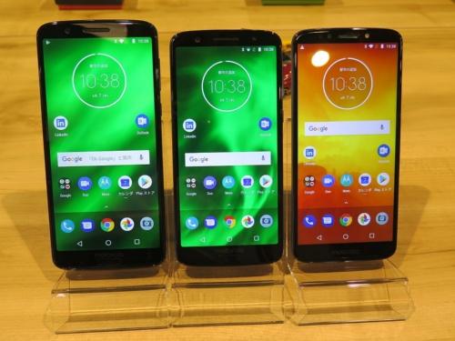 左からMoto G6 Plus、Moto G6、Moto E5
