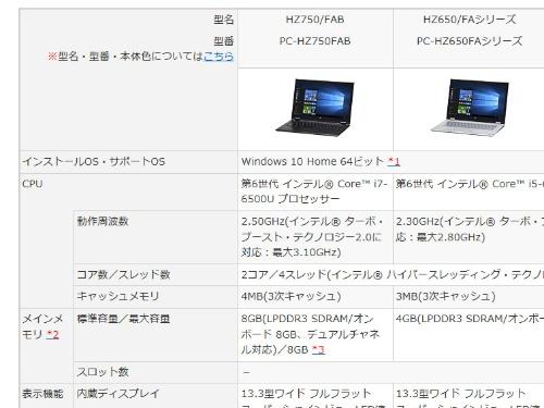 NECの「LAVIE Hybrid ZERO(PC-HZ750FAB)」のカタログ情報。メモリーはオンボードのみで、ソケットはない仕様なのでパワーアップはできない