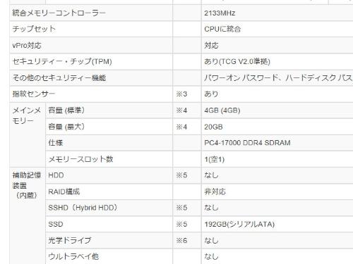 レノボ・ジャパンの「ThinkPad T460s(20F9002MJP)」のスペック表。こちらはオンボードで4GB搭載するほかに空きのソケットが1つある仕様となっている