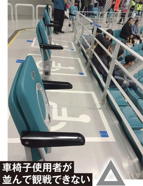 車椅子使用者の席と同伴者の席が整備されているのは良いが、同伴者席が固定式であるため、車椅子使用者の仲間と並んで観戦できない。同伴者席を取り外し可能な仕様とするなどの配慮がほしい