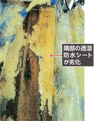 隅柱に外装材をじか打ちした場合、外装材の熱でシートの劣化が促進されてしまうケースがある(写真:旭・デュポンフラッシュスパンプロダクツ)