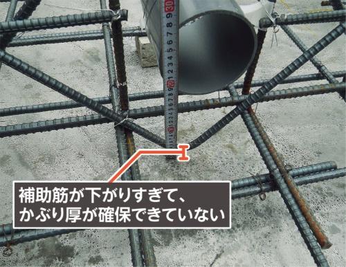 〔写真4〕V字型の補助筋が下がりすぎて、ほぼスラブに接触している(写真:カノム)