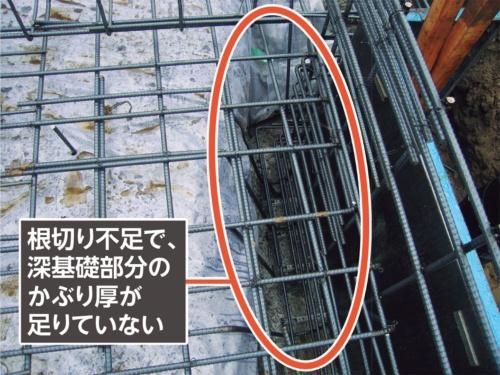 〔写真5〕ハンチの形状ぎりぎりに根切りされているため、かぶり厚が確保できない状態(写真:カノム)