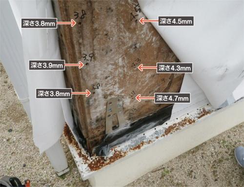 〔写真2〕合板厚さの半分程度までくぎがめり込み