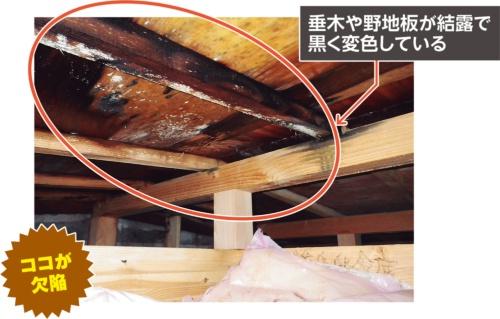 〔写真1〕野地板や垂木が黒く変色した小屋裏の様子。写真は2017年3月に撮影したものだが、2年前に建て主が発見した状態と同じだという(写真:カノム)