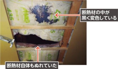 〔写真2〕漏水は断熱材にも影響