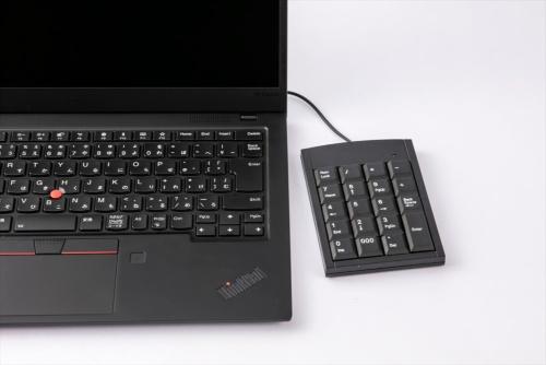数値キーや記号キーといったテンキーが持つキーのほかに、「Back Space」キーや「000」キーなども備える。小型かつ薄型で持ち運びやすい