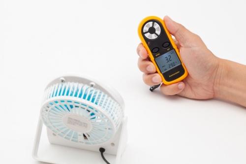 各製品の風速を測定