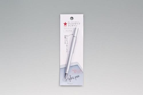 キャンドゥで売っている「ディスクタイプタッチペン クリップ付き」と「ディスクタイプタッチペン ボールペン付き」。共に100円(税別)