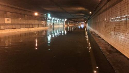 神戸市中央区の海上を埋め立てて造ったポートアイランドと対岸を結ぶ港島トンネルが浸水した(写真:国土交通省)