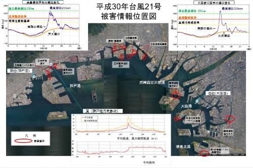 大阪湾の港湾土木施設の被害概要(資料:国土交通省)