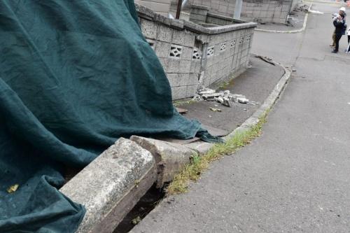 沈下した道路の縁石が浮かび上がり、ブロック塀が崩れていた(写真:日経コンストラクション)