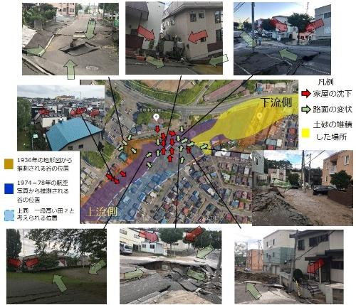 札幌市清田区で発生した地盤被害の状況を示す。矢印は家屋や路面の沈下方向。青は1936年の旧版地形図から推測される谷の位置。茶色が74年から78年にかけての航空写真から推察される谷の位置(資料:Googleの航空写真に横山 芳春が加筆。航空写真以外は横山 芳春)