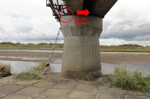 橋桁の変位量が最も大きかった13P橋脚。様似(さまに)方面から苫小牧方面を見る(写真:JR北海道)
