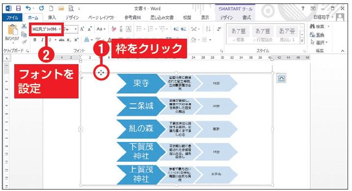 図19 全体の設定をするときは、枠部分をクリックして選択する。ここではフォントを「HG丸ゴシックM-PRO」に変えた