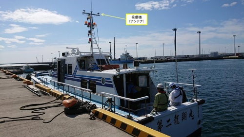 みちびきから発信される補正信号の受信機を積んだ小型船(写真:東亜建設工業)