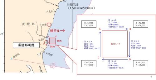検証は茨城県の常陸那珂港区周辺で実施。5km四方の航行ルート上で、頻度や船速を測線ごとに変えて位置情報を取得した。みちびきの測位結果は、地殻変動に伴う電子基準点のずれを補正したうえで、従来手法による測位結果と比較した(資料:東亜建設工業)