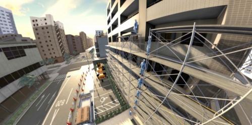 坂田建設が導入したVR映像の一例。高所で作業する人の視点に立って落下事故を体験する(資料:つくし工房)