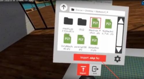 ヘッドマウントディスプレーの装着時の画面。3次元データを選択して読み込むと、数秒でVR映像に変換される(資料:DVERSE)