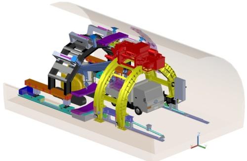 開発したシステムの概要。紫色のパネルがPCa部材。マシンの下にクレーンを配置し、トラックが運んだPCa部材を荷下ろしする。それをエレクターがつかんで、所定の位置まで運ぶ。実証に用いたエレクターは幅7.41m、高さ5.2mで、形状保持装置は幅7.8m、高さ6.5m(資料:清水建設)