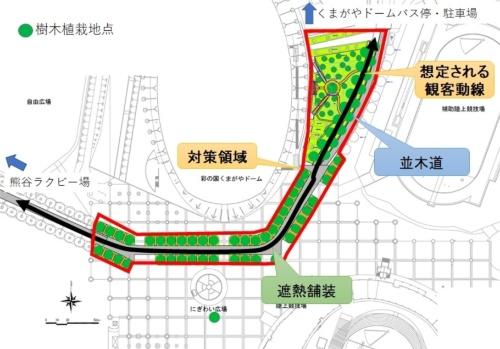 熊谷スポーツ文化公園でのヒートアイランド対策の概要。駐車場やバスの停留所と県営熊谷ラグビー場を結ぶ動線に、遮熱舗装や並木道を整備する(資料:埼玉県)