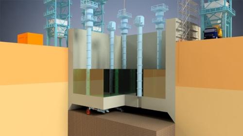ニューマチックケーソン工法のイメージ。構造物の下面に高圧の作業室を設けて掘削する(資料:オリエンタル白石)