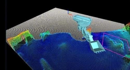 計測した各種データを基にパソコン上で構築した掘削地盤と掘削機の3次元モデル(資料:オリエンタル白石)