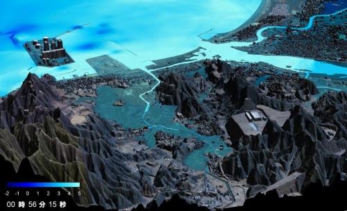津波のシミュレーションのイメージ