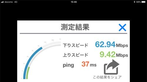 iPhone XSの通信速度を測ったところ、下りは62.94Mbpsだった(NTTドコモ回線)