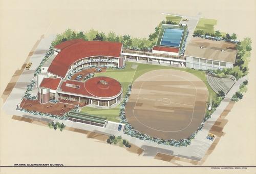 設計当時の大川小学校パース。水害対策を意識した設計となっており、北上川に向かって校舎を配置して、校庭を守っている(資料:北澤建築設計事務所)