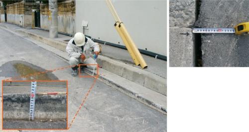 工事区間内に生じた変状の様子。道路には最大10cmの沈下(左)、舗装と側溝との境目などには最大3cmの隙間がそれぞれ生じた(右)(写真:沖縄県)