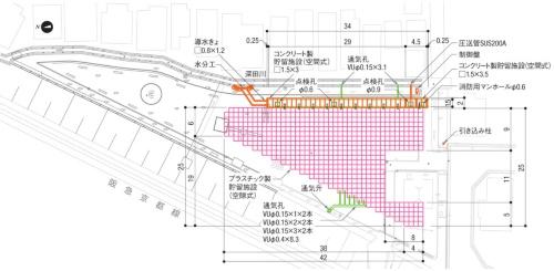 長岡京市風呂川排水区雨水貯留施設設置工事の平面図。図中のVUはビニール製パイプを示す(資料:長岡京市)