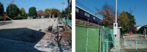 左は地下にプラスチック製の雨水貯留槽を整備するはずだった長岡京市内の野添公園。現場の西側をかすめるように阪急電鉄京都線が走る。12年11月撮影(写真:奥野 慶四郎)