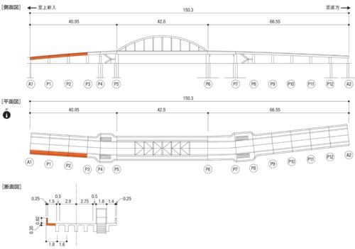 御館橋の概要。オレンジ色の部分が崩落した南側歩道。張り出し構造になっている。断面図は中心線の左側がA1-P3間の例、右側がP4-P5間の例を示す(資料:福岡県)
