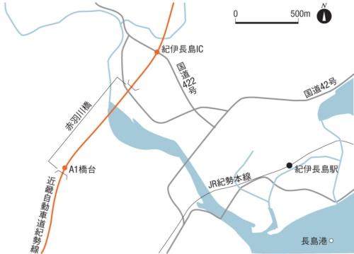 赤羽川橋の位置図(資料:日経コンストラクション)