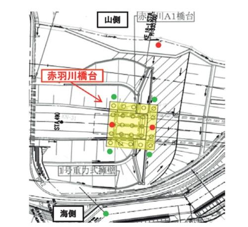 当初設計時および変状発生後に実施したボーリングの位置。図中の赤の点が設計・工事着手前に調査した位置、緑の点が変状を確認した後に調査した位置(資料:国土交通省中部地方整備局)