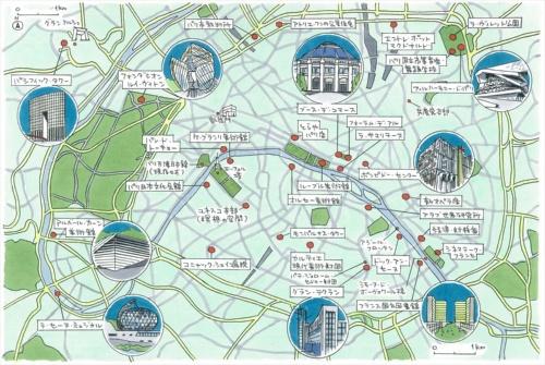直筆パリ市内建築マップ(イラスト:宮沢 洋)