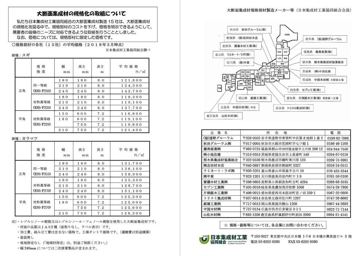 大断面集成材の規格化について(資料:日本集成材工業協同組合)